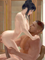 Hot blowjob and pussy fuck for hot babe in adult cartoons